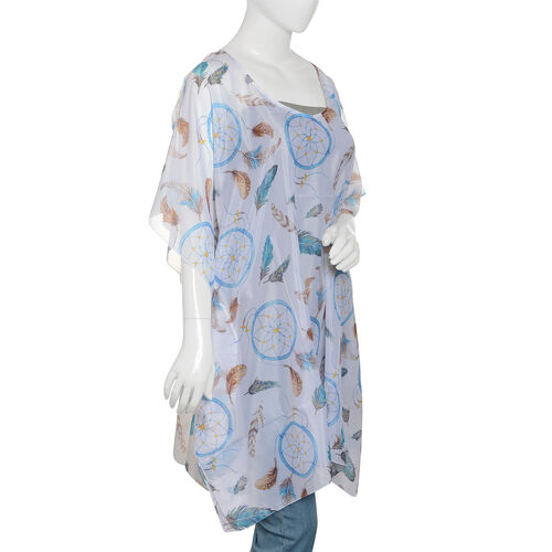 Designer Inspired - Blue, White and Multi Colour Feathers Pattern Kaftan (Size 90x65 Cm)