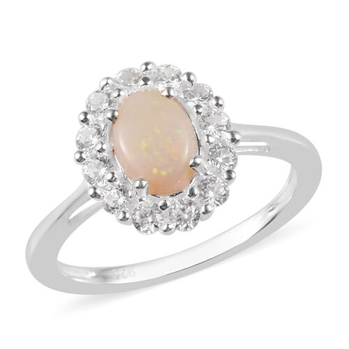 Natural Australian Opal (Ovl 7x5mm), Natural Cambodian Zircon Ring in Sterling Silver 1.00 Ct.