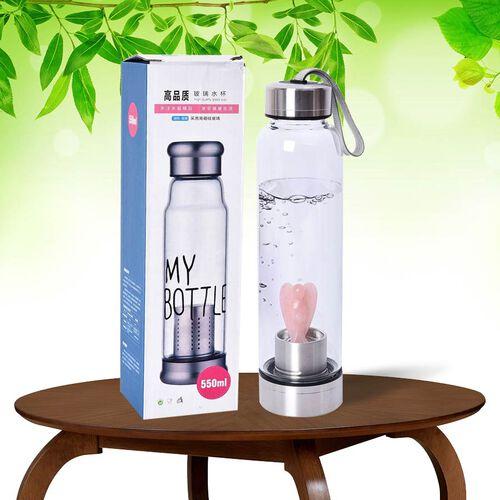 550 ML Rose Quartz Angel Figurine Crystal Elixir Water Bottle with Stainless Steel Cap (Size 24.5x6.5 Cm)
