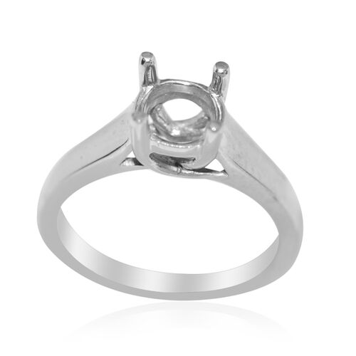 ILIANA 18K W Gold Ring Mounting (For 6.50mm round  Stone) 4.50 Gm