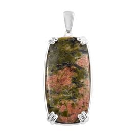 22 Carat Unakite Cushion Shape Solitaire Pendant in Sterling Silver