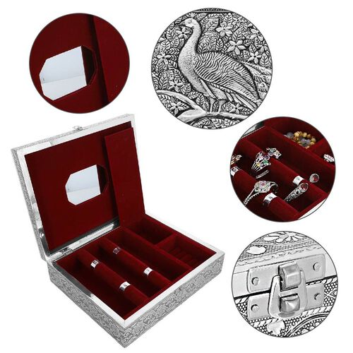 3D Embossed Collection Handcrafted Peacock Oxidised Jewellery Box (Size 19x14 Cm) with Mirror and Velvet Interior