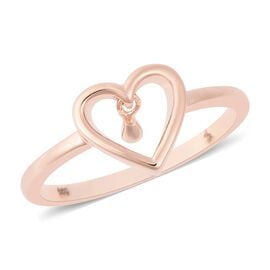 LucyQ Single Drip Heart Ring in Rose Gold Overlay Sterling Silver