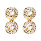 J Francis White Crystal from Swarovski Drop Cluster Earrings in Gold Plated Sterling Silver