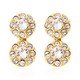 J Francis - Crystal from Swarovski White Crystal (Rnd) Earrings (with Push Back) in Yellow Gold Over