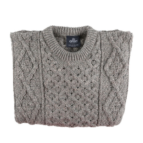 ARAN 100% Pure New Wool Sweater (Size XL) - Grey