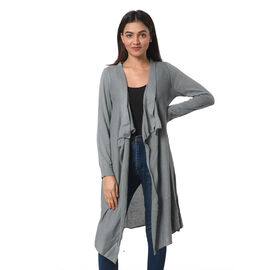 Marigold Lotus: 100% Cotton Knit Long Sleeve Waterfall Cardigan in Steel Grey; L-XL (UK Size 16-20)