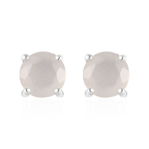 2 Piece Set - Sri Lankan White Moonstone Pendant with Chain (Size 18) and Stud Earrings (with Push Back) in Platinum Overlay Sterling Silver 1.50 Ct.