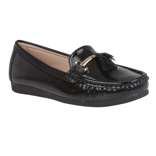 Lotus Crinkle Patent Mia Loafers (Size 4) - Black