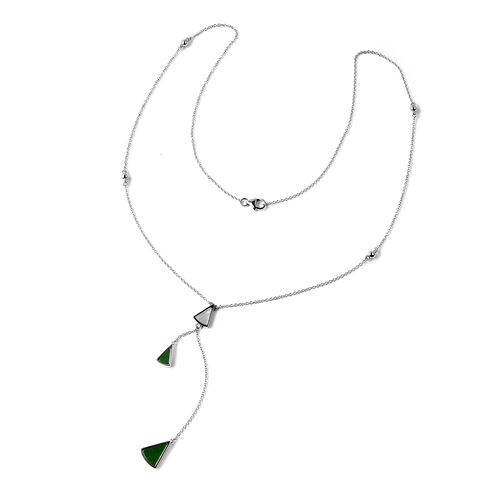 Isabella Liu Dance of Ginkgo - Green Jade and White Mother of Pearl Lariat Necklace (Size 26) in Rho