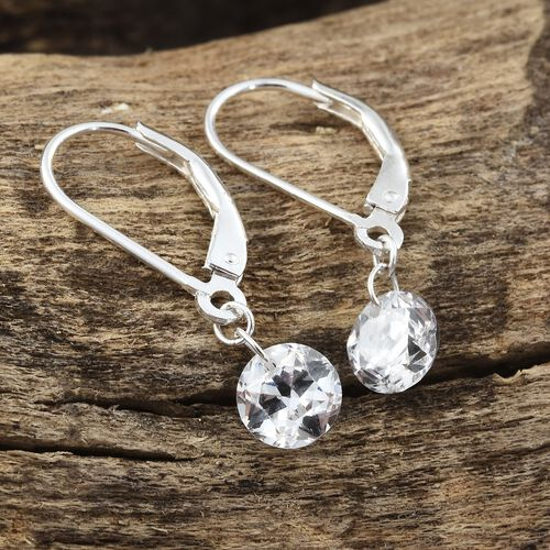 First Time Ever - STAR CUT J Francis - Sterling Silver (Rnd) Lever Back Earrings Made with SWAROVSKI ZIRCONIA
