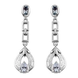 Santa Teresa Aquamarine Dangling Earrings (with Push Back) in Platinum Overlay Sterling Silver 0.800