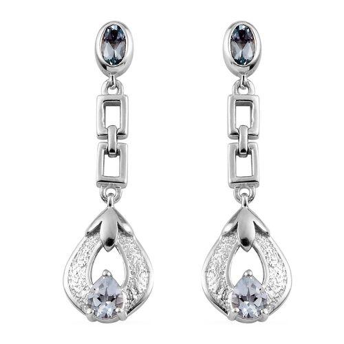 Santa Teresa Aquamarine Dangling Earrings (with Push Back) in Platinum Overlay Sterling Silver 0.800