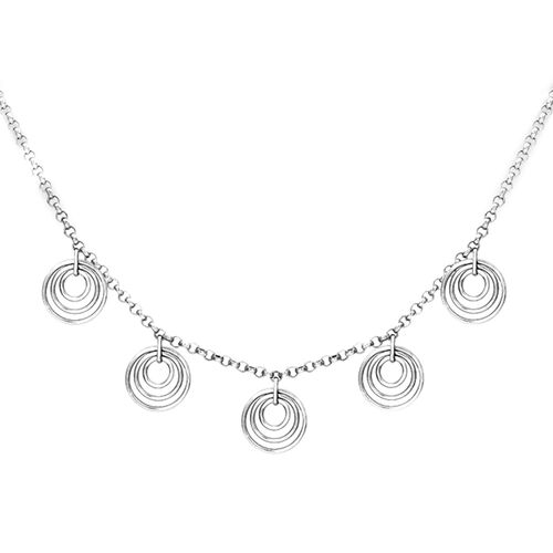 9K White Gold Multi Circle Charm Necklace (Size 18)