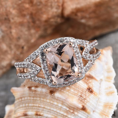 GP 9K Rose Gold Marropino Morganite (Cush 9x7 mm), Natural Cambodian Zircon and Blue Sapphire Ring 2.40 Ct.