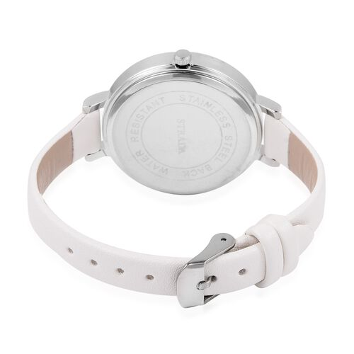 STRADA Japanese Movement White Crystal Studded Butterfly Water Resistant Watch with White Colour Strap