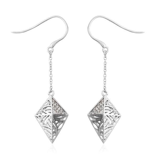 Isabella Liu Sea Rhyme Collection - Ratanakiri Blue Zircon Pyramid Shape Hook Earrings in Rhodium Ov