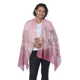 Peach and White Floral Embroidery Scarf with Dark Pink Spray Dots (65x180cm)