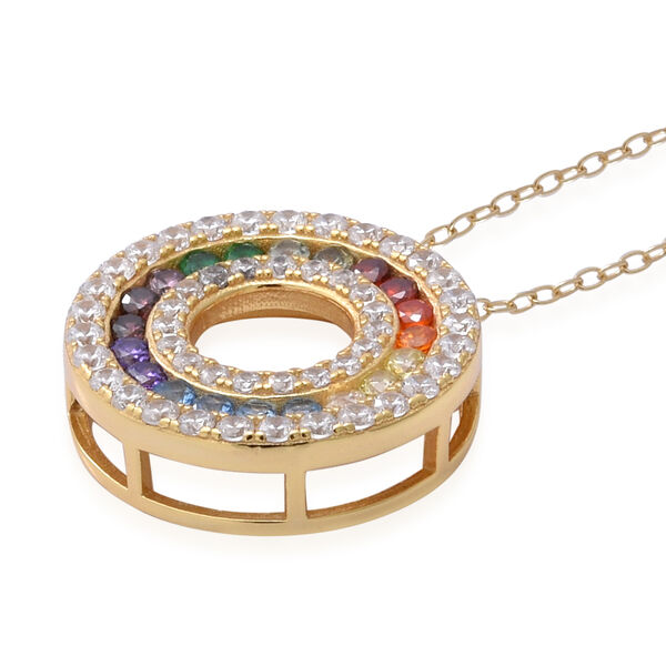 ELANZA Simulated Rainbow Sapphire (Rnd), Circle Pendant with Chain (Size 18) in 14K Gold Overlay Sterling Silver
