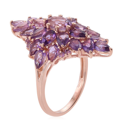 Rose De France Amethyst Cluster Ring in Rose Gold Overlay Sterling Silver 5.750 Ct.