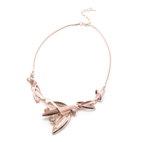 2 Piece Set - Simulated Rose Quartz, Champagne Austrian Crystal and Simulated Smoky Quartz Enamelled Necklace (Size 20 with 2 inch Extender) and Earrings (with Push Back) in Rose Gold Tone