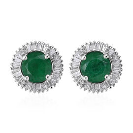 RHAPSODY 2 Carat Zambian Emerald and Diamond Halo Stud Earrings in 950 Platinum 3.5 Grams