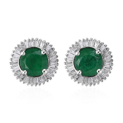 RHAPSODY 2 Carat Zambian Emerald and Diamond Halo Stud Earrings in 950 Platinum 3.5 Grams