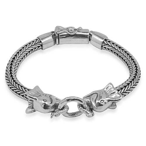 Royal Bali Collection Sterling Silver Elephant Head with Tulang Naga Chain Bracelet (Size 8), Silver wt 51.23 Gms.