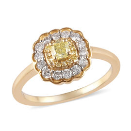 9K Yellow Gold White Diamond and Natural Yellow Diamond Ring 0.50 Ct.