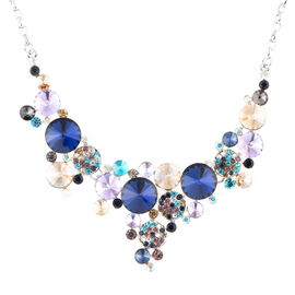 Multi Colour Simulated Diamond (Rnd), Multi Colour Austrian Crystal Necklace (Size 21 and 2 inch Extender) in Silver Tone