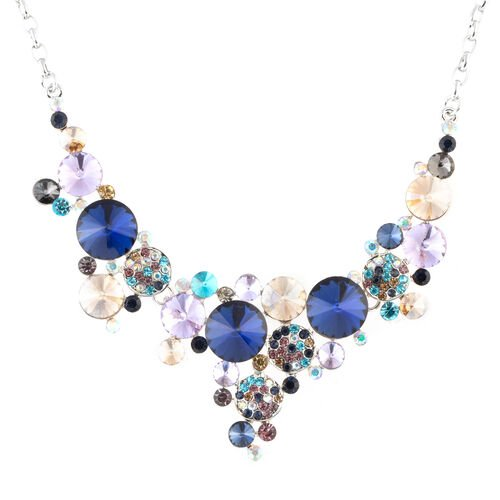Multi Colour Simulated Diamond (Rnd), Multi Colour Austrian Crystal Necklace (Size 21 and 2 inch Ext