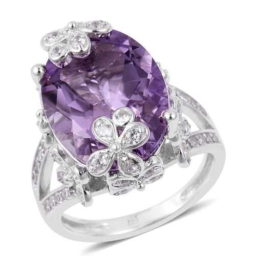 Rose De France Amethyst (Ovl 8.25 Ct), Natural White Cambodian Zircon Ring in Platinum Overlay Sterling Silver 9.240 Ct. Silver wt 5.13 Gms.