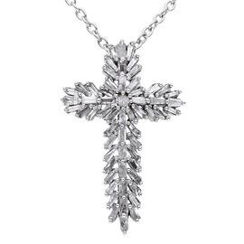 0.75 Ct Diamond Cross Pendant with Chain in Platinum Plated Silver 20 Inch