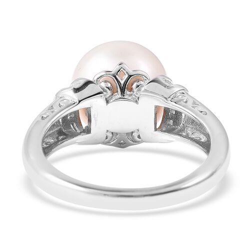 Edison Pearl (Rnd) and Diamond (0.25 Ct) Ring in Rhodium Overlay Sterling Silver