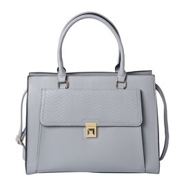 Solid Grey Satchel Bag with Flap-Closure Front Compartment and Adjustable Shoulder Strap (38x14.5x29