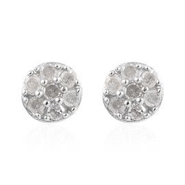Diamond Stud Earrings with Push Back in Platinum Plated Silver 0.15 Ct
