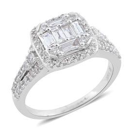 New York Close Out - 14K White Gold Diamond (Bgt and Rnd) (I1-I2, G-H) Ring 1.000 Ct., Gold wt 4.00 Gms.