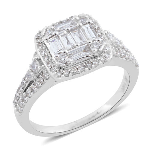 New York Close Out - 14K White Gold Diamond (Bgt and Rnd) (I1-I2, G-H) Ring 1.000 Ct., Gold wt 4.00 Gms.