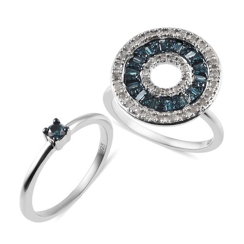 2 Piece Set - Blue and White Diamond Cluster Ring in Platinum Overlay Sterling Silver 0.75 Ct.