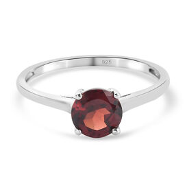 Red Garnet Ring in Platinum Overlay Sterling Silver 1.05 ct  1.050  Ct.