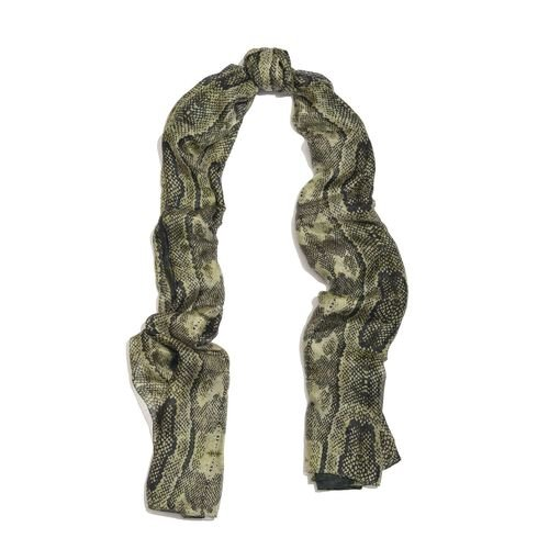 100% Mulberry Silk Green, Black and Multi Colour Handscreen Snake Printed Scarf (Size 200X180 Cm)