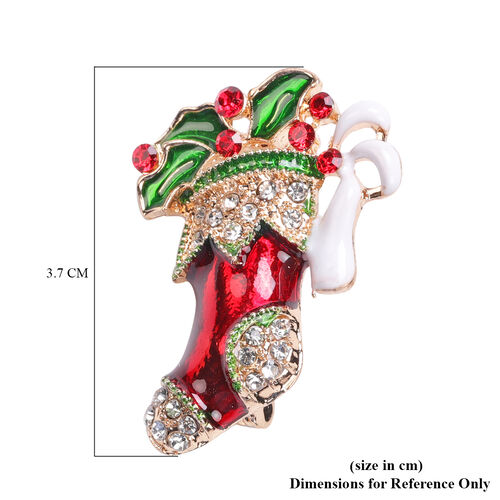 Multi Colour Austrian Crystal Enamelled Christmas Theme Stocking Brooch