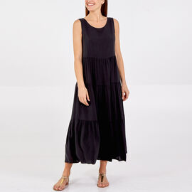 TAMSY 100% Viscose Open Back Tie Detail Tiered Midi Dress (One Size, 48x128cm) - Black