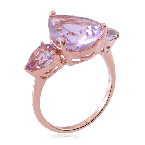 Rose De France Amethyst (Pear 7.45 Ct) 3 Stone Ring in Rose Gold Overlay Sterling Silver 9.350 Ct.