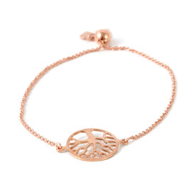 Vicenza Collection Rose Gold Overlay Sterling Silver Adjustable Bracelet (6.5 - 8.25 inches)