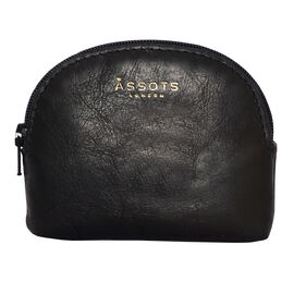 Assots London Lotty 100% Genuine Leather Zip Top Coin Purse in Black (Size 10x2x8.5 Cm)
