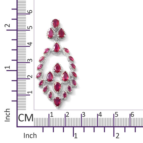 African Ruby (Pear) Earrings (with Push Back) in Rhodium Overlay Sterling Silver 12.02 Cts
