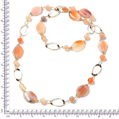 Designer Inspired - Red Agate (Rnd) and Simulated Fire Opal Beads Oval Link Necklace (Size 38) in Gold Plated 375.000 Ct.