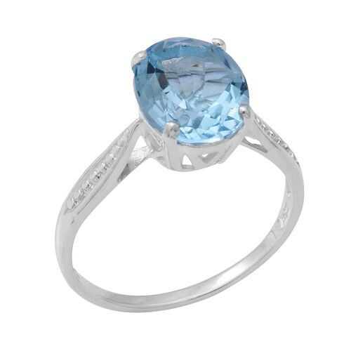Sky Blue Topaz (Ovl 11x9mm) Solitaire Ring in Sterling Silver 4.66 Ct.