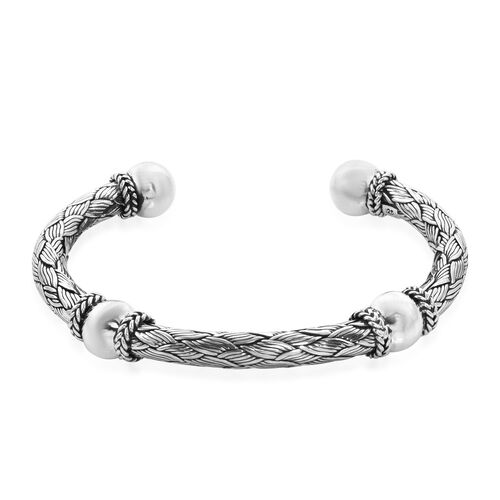 Royal Bali Collection - Sterling Silver Woven Cuff Bangle (Size 7.5), Silver wt 39.00 Gms